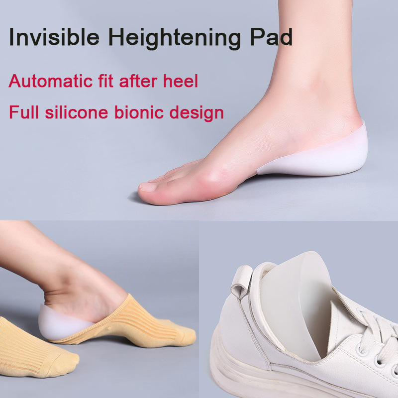 1 Pair Invisible Silicone Increase Insoles Height Lift Massage Soft Feet Cushion Inner Heightening Pad Women Men Heel Pads Socks