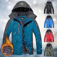 Winter Men Outdoor Jacket Waterproof Warm Coats Male Casual Thicken Velvet Jacket Plus Size Mens Outwear Mountaineering Overcoat