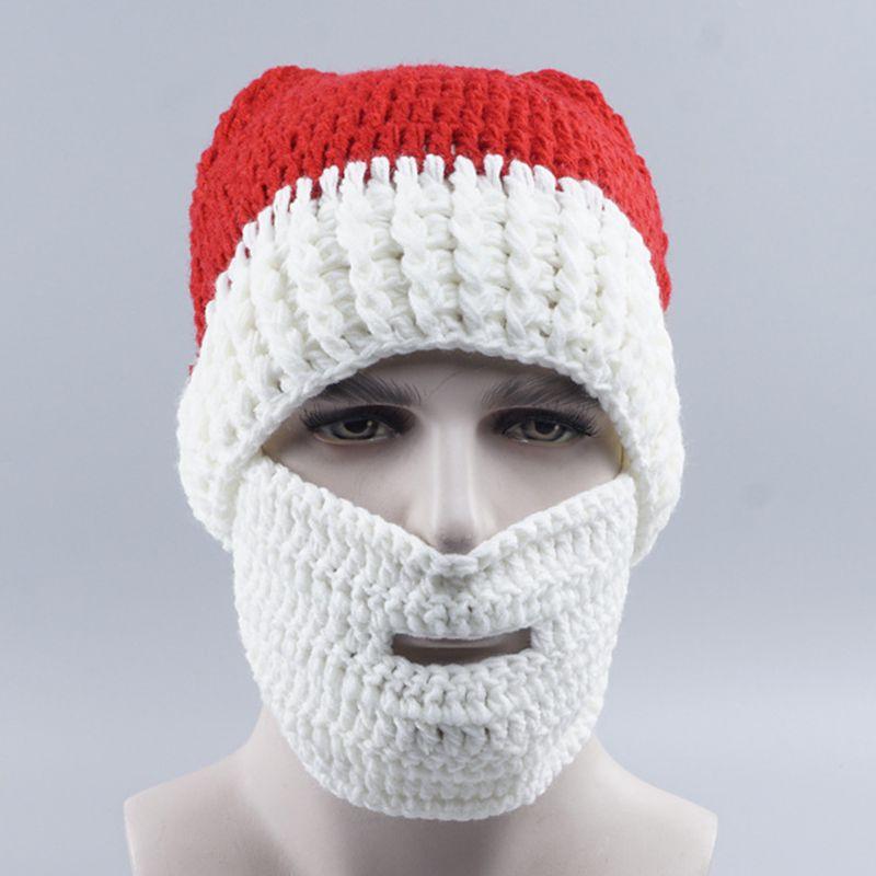 Christmas Wool Mask Hats Men Women Funny Autumn Winter Warm Beard Knitted Fashion Hat Xmas