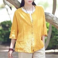 2021 Vintage Fashion Women Cotton Linen Short Jackets Ladies Button Patchwork Solid Coats Female Casual Clothes Plus Size M-7XL