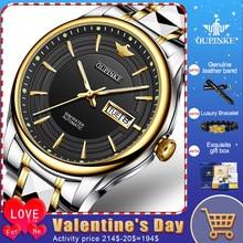 Oupinke top marca de luxo masculino relógios mecânicos automáticos à prova dwaterproof água aço inoxidável relógio de pulso safira luxo mirro masculino