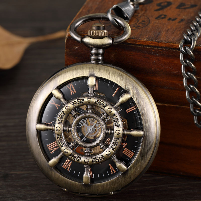 Bronze Boat Rudder Mechanical Pocket Watches For Men Hollow Steampunk Skeleton Pocket Watches Male Gifts Reloj De Bolsillo