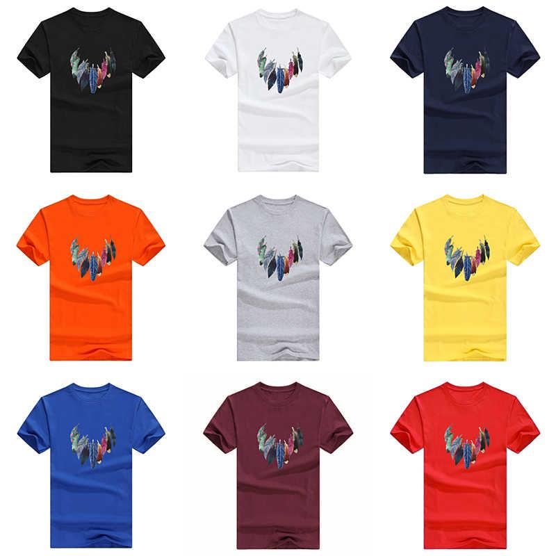 100% katoenen T-shirt Mens fashion T-shirts Zomer Tee mannelijke Jongen Skate Cartoon Kleurrijke veer 3D print Tshirt Tops Korte mouw
