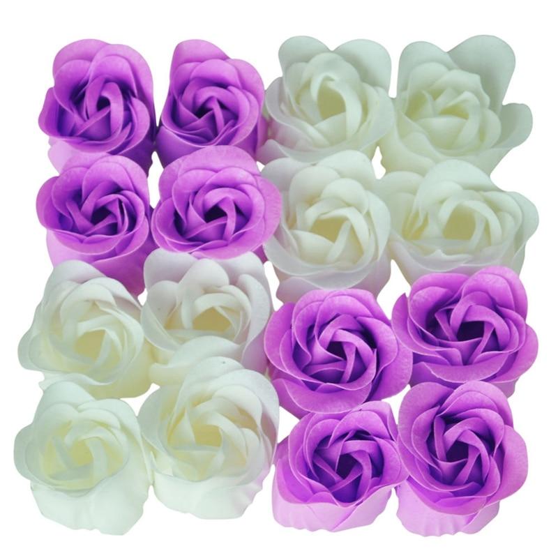 16 Pcs Handmade Rose Scented Bath Soap Petals White Purple