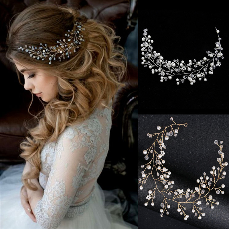 Simulated Pearl Bride Wedding Headpieces Hair Jewelry Crystal Headband Tiara Bride Hair Accessorie