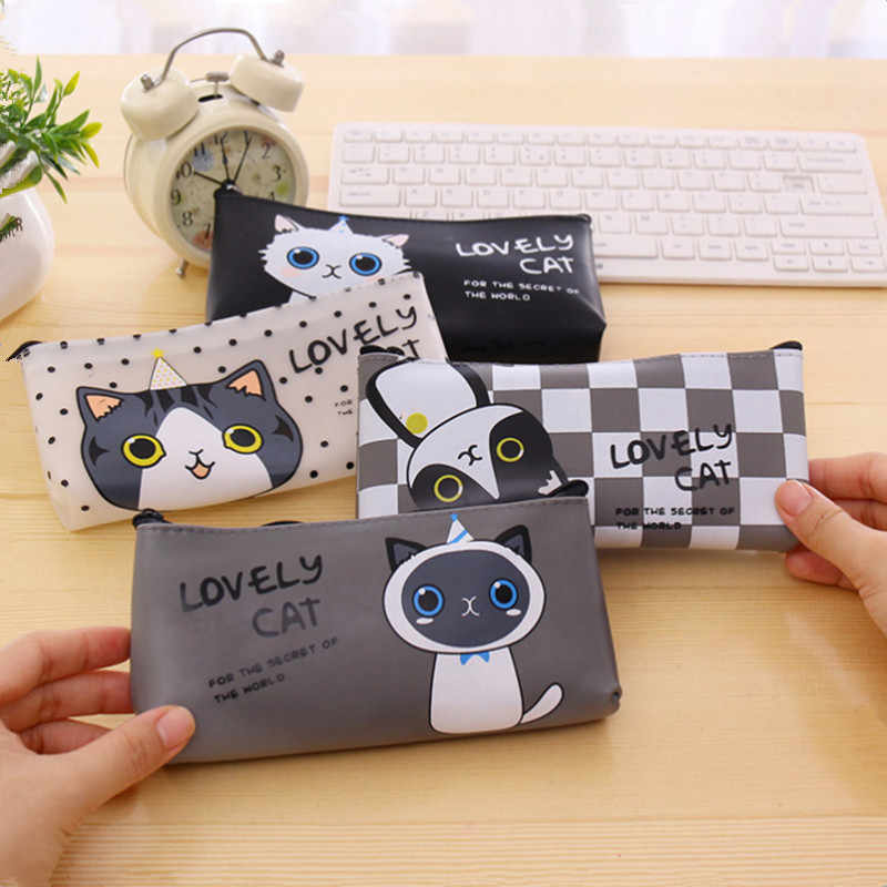 Kawaii Cat School Pencil Bags Cute Waterproof Pencil Case For Girls Kids Gift Korean Stationery Office School Supplies
