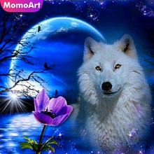 MomoArt DIY Diamond Painting Wolf Mosaic Full Drill Square Picture Of Rhinestone Embroidery Animal