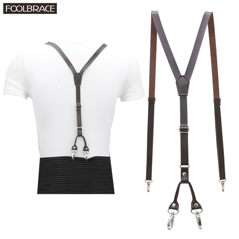 4 Clips Hook 2nd Level Genuine Leather Men's  Suspenders 1.5cm Width Skinny Women's Pants With Adjustable Suspender