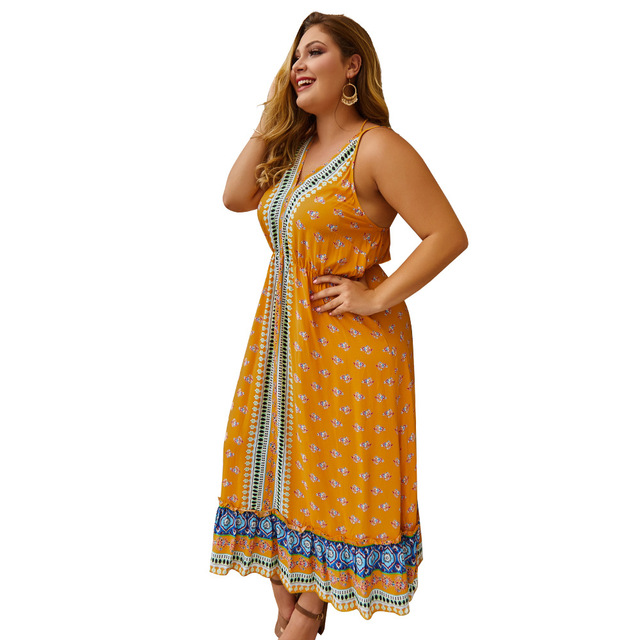 Whzhm γυναικείο φόρεμα αμάνικο με λαιμόκοψη v και λεπτές τιράντες 3xl 4xl