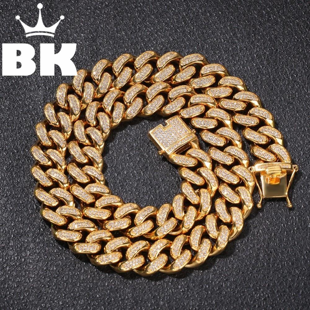 20 мм нержавеющая сталь Снаряженная кубинская звеньевая цепь хип хоп панк тяжелое Золотое серебряное покрытие кубинское ожерелье