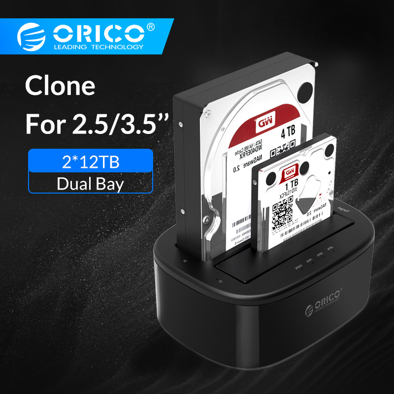 ORICO Clone Docking Station 2.5 3.5 Dual Bay SATA To USB 3.0 HDD Enclosure Tool Free Duplicator HDD Case 24TB For Windows Mac OS