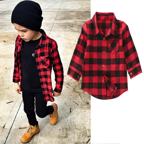 Casual Baby Kids Boys Girl Long Sleeve Plaids   Shirt   Checks Tops   Blouse   Clothes Outfit 1-7Years