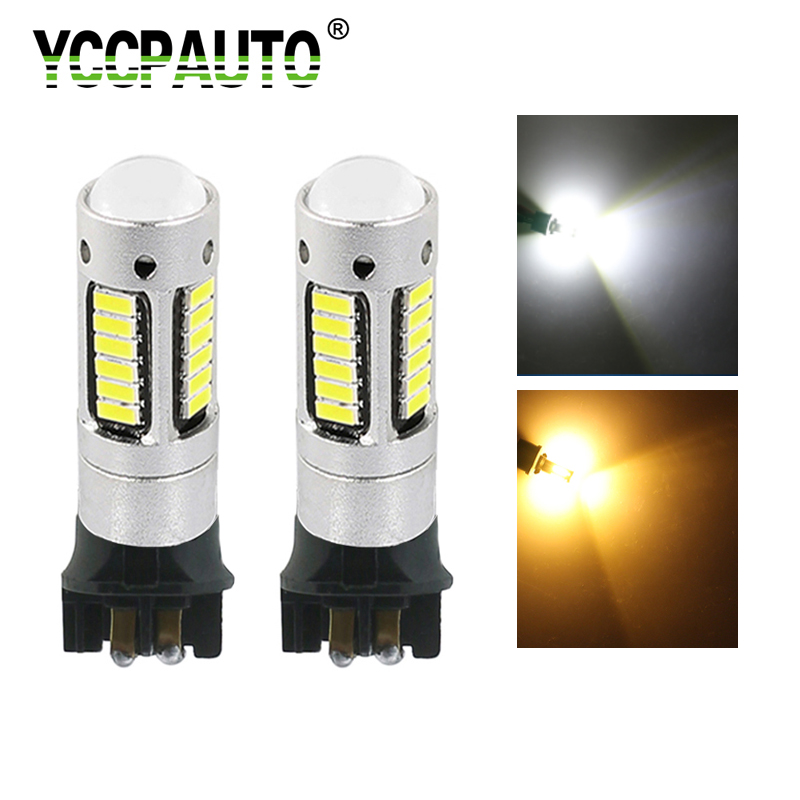 YCCPAUTO 2Pcs <font><b>PW24W</b></font> PWY24W LED Bulbs 4014 30SMD Car LED Daytime Running Lights DRL Fog Lamp White Amber Yellow 12V image