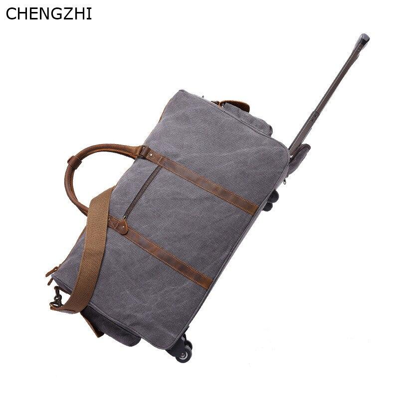 Bolso de viaje con ruedas de cuero y Caballo loco para hombre, bolso de mensajero portátil retro multifunción, bolso de viaje de lona para hombre - 3