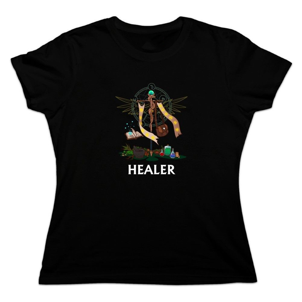 Healer Cleric Rpg Mmorpg Class Role Playing Game Women'S Novelty T-Shirt Diy Prited Tee Shirt image
