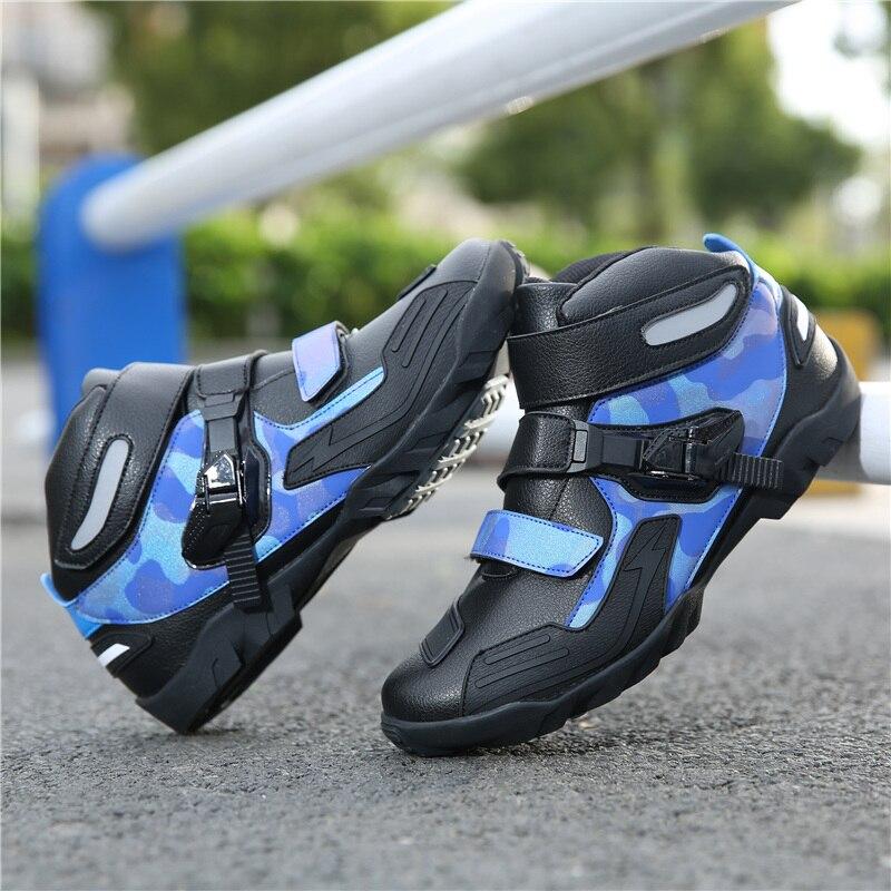 MJ MOTO Neue Marke Motorrad Schuhe männer Blau/Schwarz Beruf Motocross Stiefel Anti-schock Moto Bike Schuhe reflektierende Stiefel