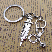 Doctor Medical Stethoscope Syringe Key Chain Snake Chain Needle Metal Key Chain Female Nurse Fashion Jewelry