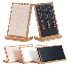 Бамбуковые ювелирные изделия подвеска ожерелье дисплей держатель стойка Органайзер чехол для хранения