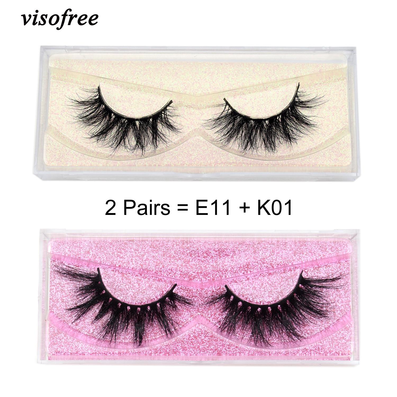 2 Pairs/lot Visofree Eyelashes Makeup 3D Mink Lashes False Eyelashes Extension Cruel-free Mink Lash Full Volume Lashes Dramatic