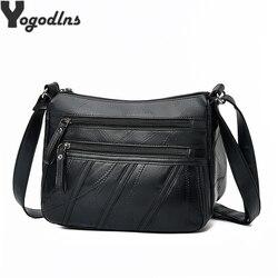 Saco do mensageiro feminino bolsa de ombro da senhora crossbody pequena bolsa de couro da pele carneiro do sexo feminino preto aleta bolsa