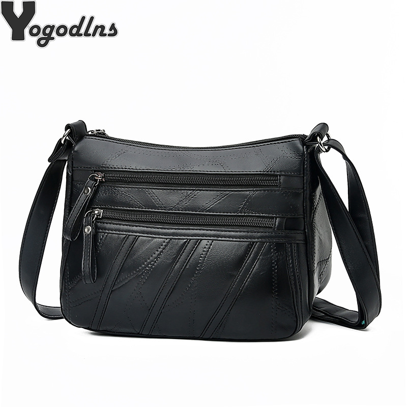 Women Messenger Bag Lady Shoulder Crossbody Bag Small Female Sheepskin Leather Handbag Black Flap Purse Bolsa