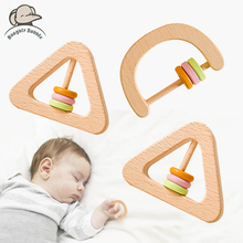 2PCS Wooden Baby Rattles Geometric Shape Wooden Hand Bells Wooden Teether Rings Educational Toys Newborn Baby Soothing Products