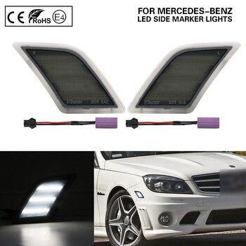 Smoke W204 LED delantero indicador lateral luz de la señal de giro de la lámpara versión de EE. UU. Luz blanca para Benz C300 C350 C63 AMG SL65 AMG
