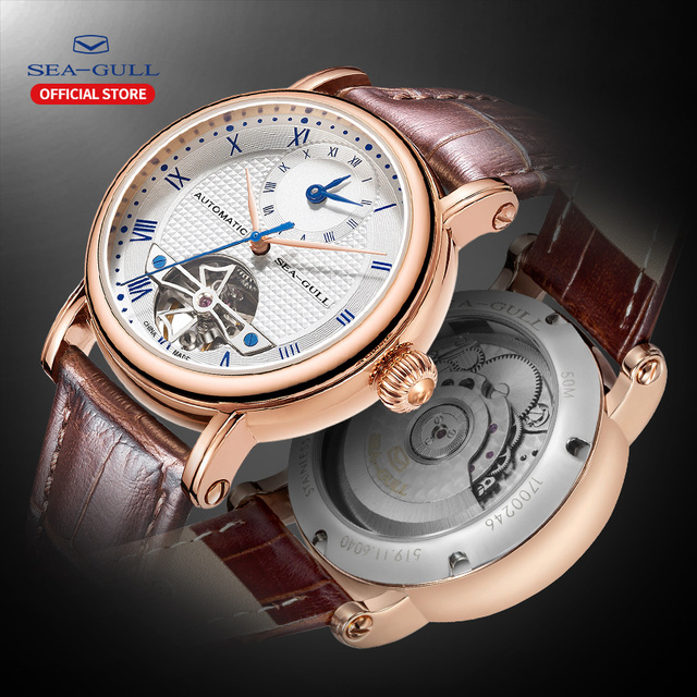 SEA GULL Business Watches Mens Mechanical Wristwatches  Calendar 30m Waterproof Leather Valentine Male Watches 519.11.6040