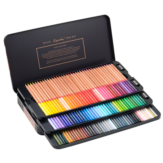 Marco Renoir Fine Art 12/24/36/48/72/100/120 Professional Colored Pencils Crayons Colouring Drawing Set 5