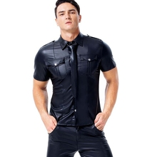 Men PU Faux leather Moto T Shirts hot Sexy Wetlook Fitness Latex Tops Gay Mens Stage Shirt Casual Party Clubwear costumes