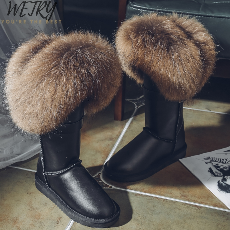 WETRY Natural Fox Fur Snow Boots Genuine Cow Suede Leather Boots Shoes Mid-calf Knee Boots Raccoon Fur Warm Female Flat Boots