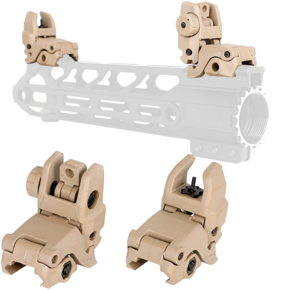 4 AR 15 Tactical Flip Up Front Rear Sight Set Polymer Sights Windage Adjustment For Rfilescope 1913 Picatinny Rail Handguards