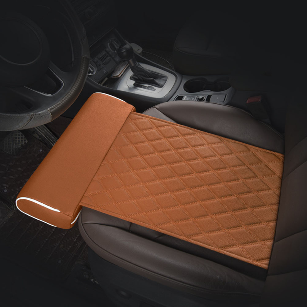 Buckled Universal Seat Cushion Lengthened Auto PU Leather Long Distance Driving Extended Rest Office Car Home Leg Support Pillow