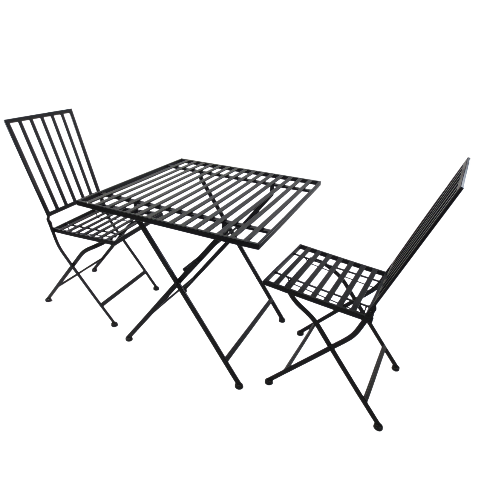 Outsunny 1 Set Furniture Table And 2 Chairs Folding Garden Mettallo 70x70x70 Cm Black