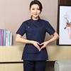 Scrub Top Women Cotton Short Sleeve Hospital Medical Uniforms Round Collar Adjustable Waist Dental Scrubs Beauty Nurse Uniform