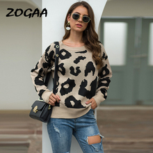 DANJEANER Autumn Winter Fashion Leopard Sweater Women O-Neck Long Sleeve Casual Thick Pullovers Female Computer Knitted Jumper