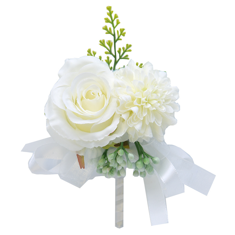 Silk Corsage Men Wedding Boutonniere White Bridal Corsage Boutineeres For Groomsmen Bridesmaid Party Wedding Witness Accessories