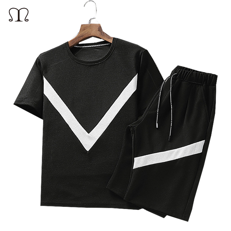 Summer Men Set Sportswear Fashion 2020 Mens Clothing Black White T Shirts Shorts Casual Tracksuits Male Track Suit Plus Size 4XL