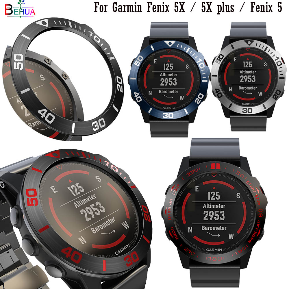 BEHUA Fashion Steel Smartwatch Case For Garmin Fenix 5X / 5X Plus / Fenix 5 Dial Bezel Ring Styling Adhesive Protection Cover