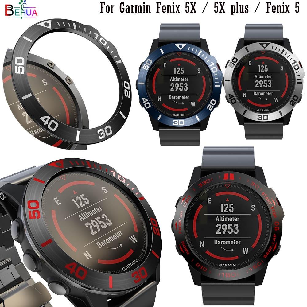 BEHUA Fashion Steel Smartwatch Case For Garmin Fenix 5X / 5X Plus / Fenix 5 Dial Bezel Ring Styling Adhesive Protection Cover