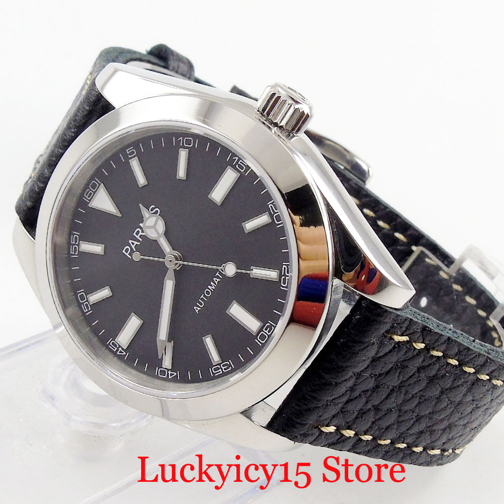 PARNIS Luxury 40mm Men's Watch Sapphire Glass Luminous Marks Automatic Movement Leather Strap