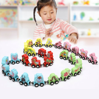 27PCS Cartoon Insects Wooden Building Blocks Magnetic Trains Toy for early Childhood Education Magnetic Trains Model Trains Toys фото