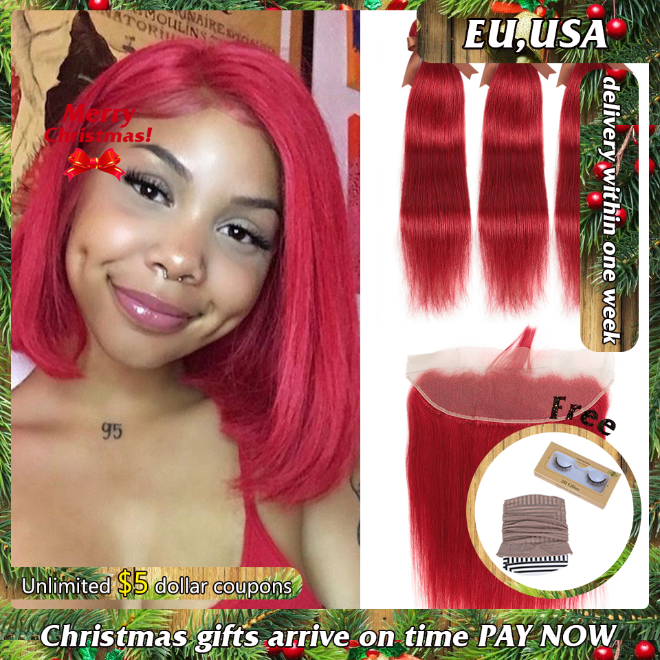 Remy Forte Straight Hair Bundles With Closure Red Bundles With Frontal Remy Brazilian Hair Weave Bundles 3/4 Red Hair Bundles