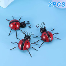 3 Pcs Iron Ladybug Metal Wall Hanging Art Decorations Ornament for Home Garden PUO88(China)