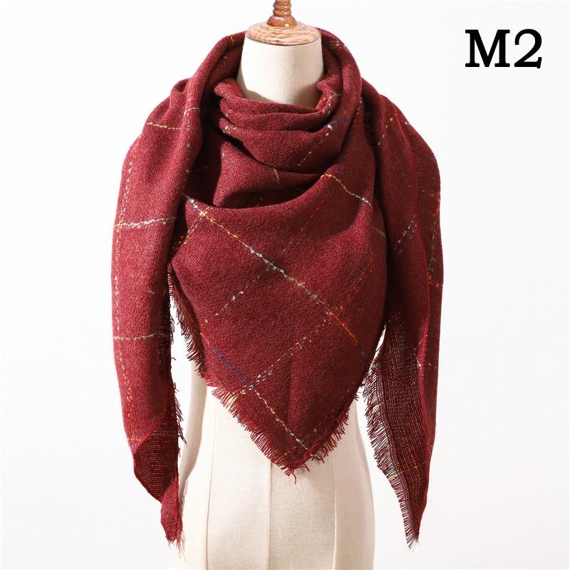 Женский зимний шарф в ретро стиле, кашемировые вязаные пашмины шали, женские мягкие треугольные шарфы, бандана, теплое одеяло, новинка - Цвет: M2