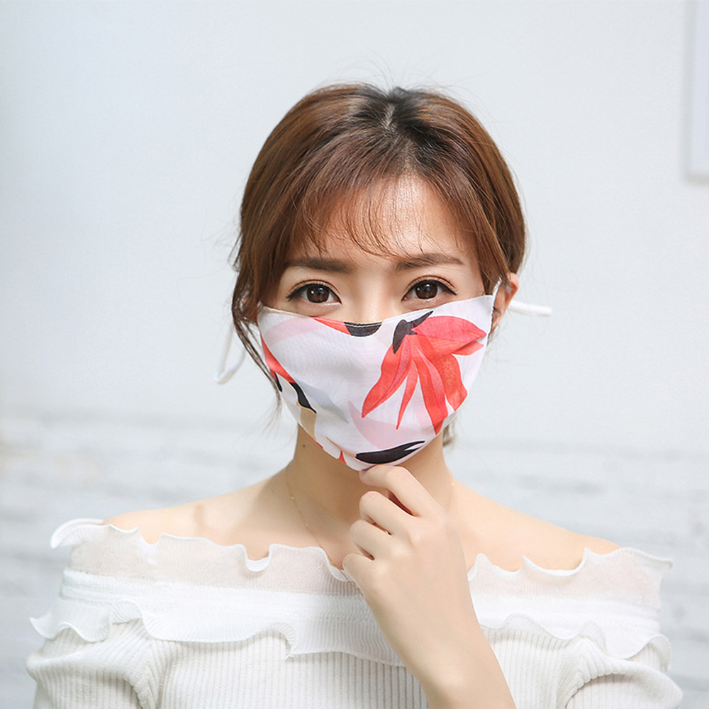 Summer Ink Printed Chiffon Hanging Ear Mask Breathable Elegant Pattern Anti Dust Mask Sun Protection Face Masks Care Reusable