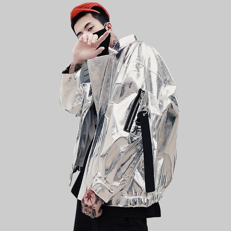 2019 Autumn New Men And Women Costumes Tide Brand Jacket Coat Korean Students Bright Silver Bomber Zipper Jacket