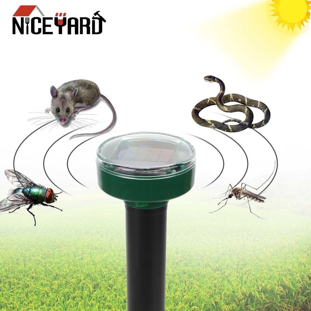 NICEYARD For Household Garden Yard Pest Repeller Mole Repellent Outdoor Garden Solar Power Ultrasonic Snake Bird Mosquito Mouse(China)