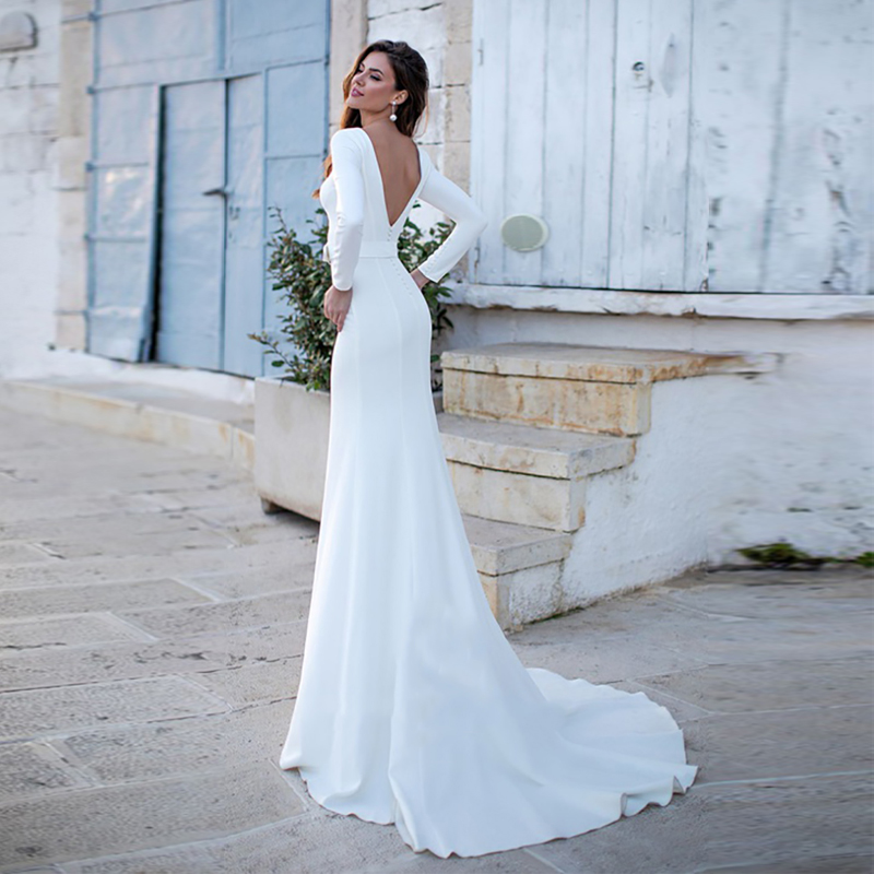 Verngo Mermaid Wedding Dress Stain Simple Wedding Gowns Elegant Long Sleeves Bride Dress Vestido De Noiva Sereia 2020