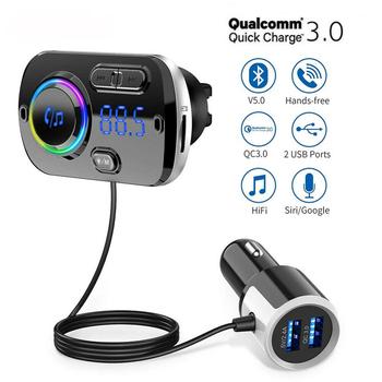 Nadajnik Bluetooth FM Aux asystenta głosowego samochodowy zestaw głośnomówiący QC3 0 szybka ładowarka podwójny obsługa USB SiRi karty TF do dwa urządzenia tanie i dobre opinie KONRISA CN (pochodzenie) 49BZQ QC3 0+5V 2 4A plastic+metal Nadajniki fm 120g Hansfree calling 70x45x80mm Version5 0+EDR